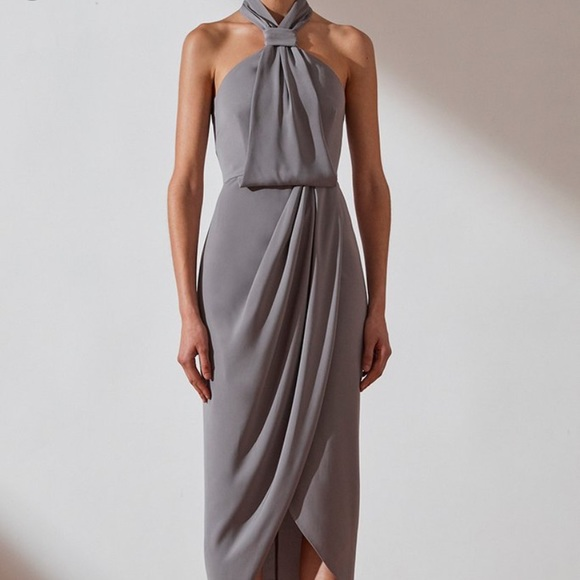 Shona Joy Dresses & Skirts - Shona Joy CORE KNOT DRAPED DRESS - GREY